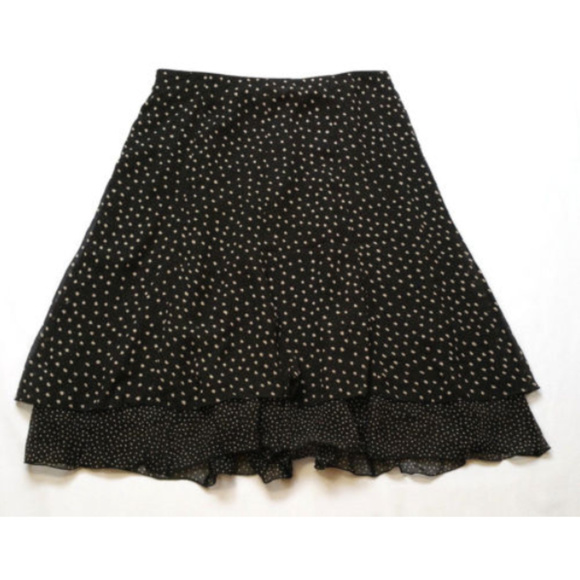 25a50617cf8d WHBM Skirt Circle Layered Polka Dot 100% Silk 0379